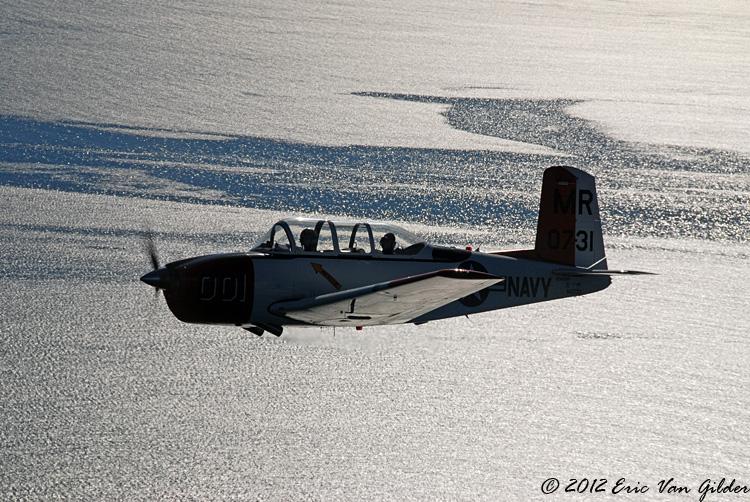 Marc Russell in his T-34 over the Pacific.